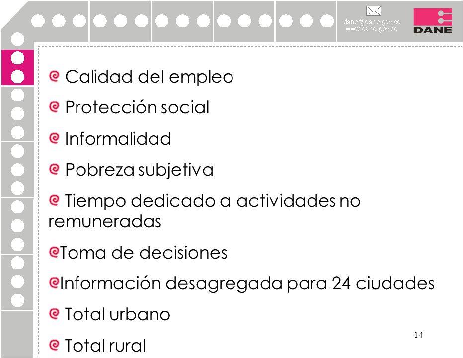 14 Calidad del empleo Protección social Informalidad Pobreza subjetiva Tiempo dedicado a actividades no remuneradas Toma de decisiones Información des
