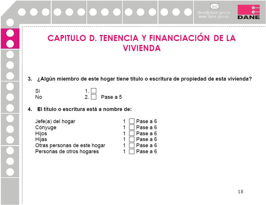 18 CAPITULO D. TENENCIA Y FINANCIACIÓN DE LA VIVIENDA