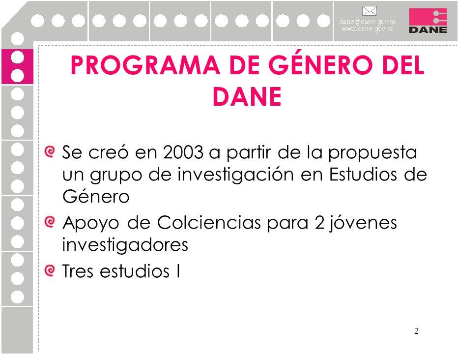 2 PROGRAMA DE GÉNERO DEL DANE Se creó en 2003 a partir de la propuesta un grupo de investigación en Estudios de Género Apoyo de Colciencias para 2 jóv