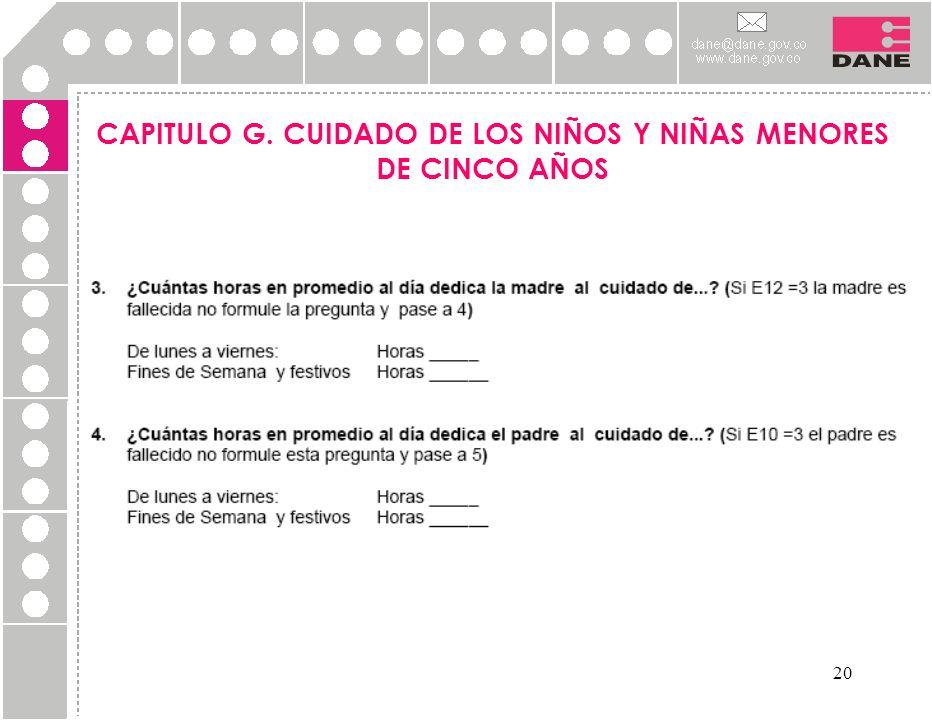 20 CAPITULO G. CUIDADO DE LOS NIÑOS Y NIÑAS MENORES DE CINCO AÑOS