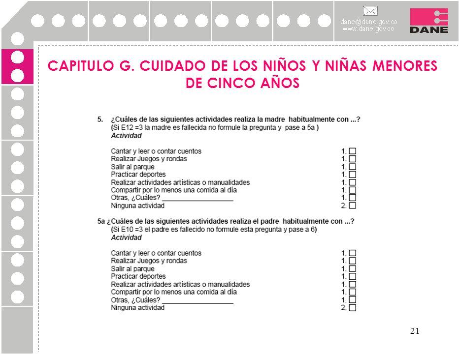 21 CAPITULO G. CUIDADO DE LOS NIÑOS Y NIÑAS MENORES DE CINCO AÑOS
