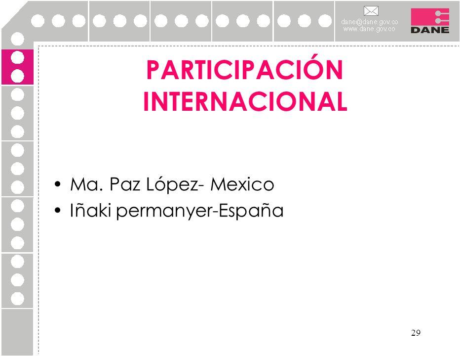 29 Ma. Paz López- Mexico Iñaki permanyer-España PARTICIPACIÓN INTERNACIONAL