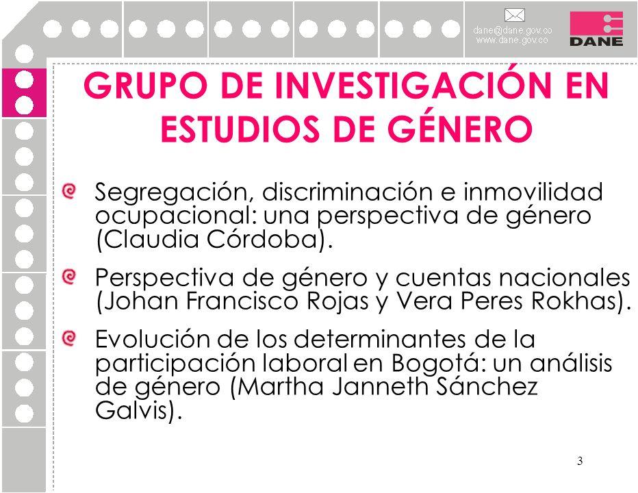 3 GRUPO DE INVESTIGACIÓN EN ESTUDIOS DE GÉNERO Segregación, discriminación e inmovilidad ocupacional: una perspectiva de género (Claudia Córdoba). Per
