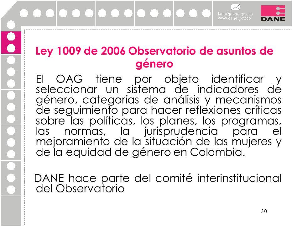 30 Ley 1009 de 2006 Observatorio de asuntos de género El OAG tiene por objeto identificar y seleccionar un sistema de indicadores de género, categoría