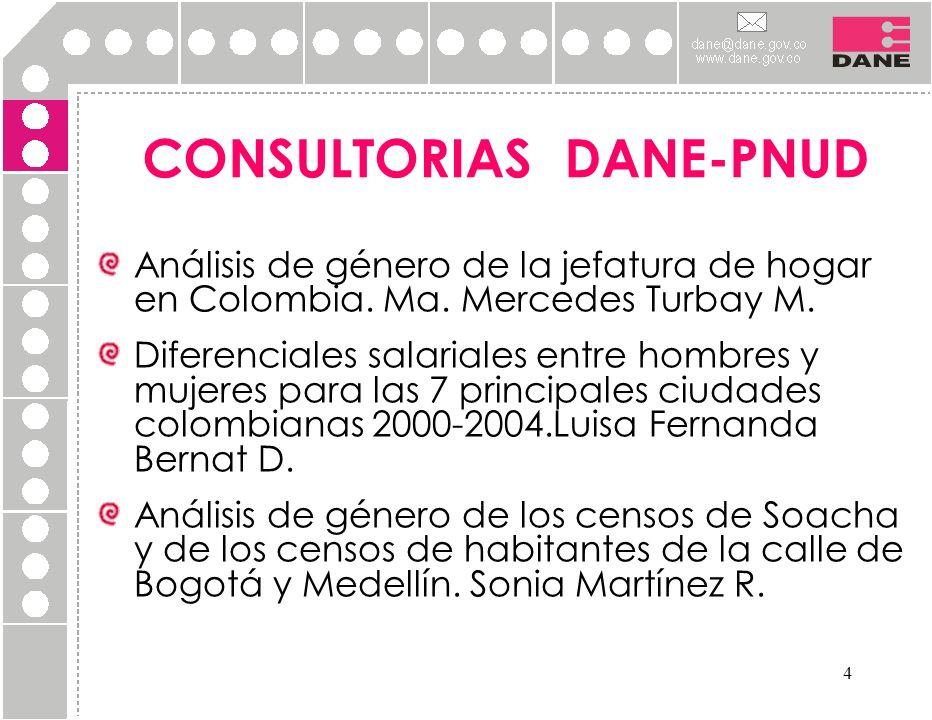 4 CONSULTORIAS DANE-PNUD Análisis de género de la jefatura de hogar en Colombia. Ma. Mercedes Turbay M. Diferenciales salariales entre hombres y mujer