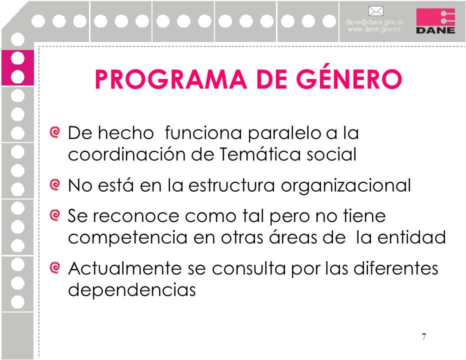 7 PROGRAMA DE GÉNERO De hecho funciona paralelo a la coordinación de Temática social No está en la estructura organizacional Se reconoce como tal pero