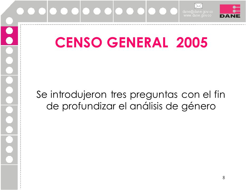 8 CENSO GENERAL 2005 Se introdujeron tres preguntas con el fin de profundizar el análisis de género