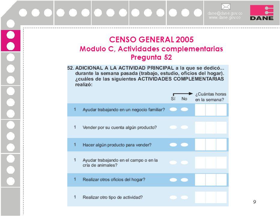 9 CENSO GENERAL 2005 Modulo C, Actividades complementarias Pregunta 52