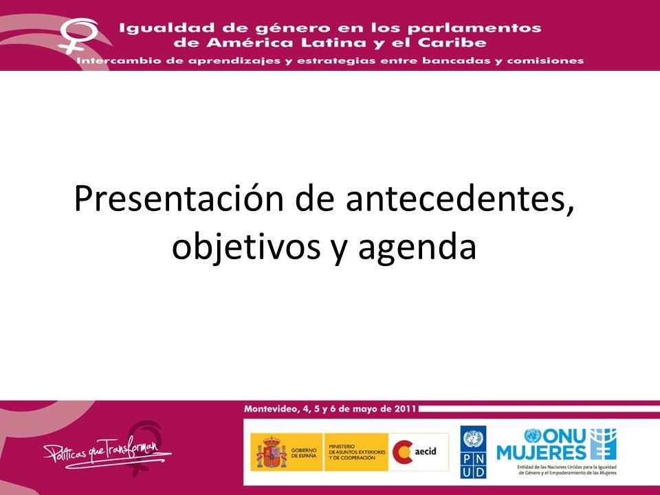 Presentación de antecedentes, objetivos y agenda