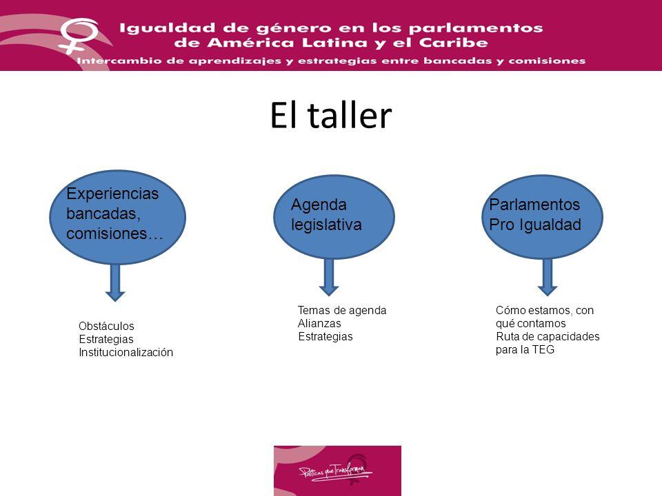 El taller Experiencias bancadas, comisiones… Agenda legislativa Parlamentos Pro Igualdad Obstáculos Estrategias Institucionalización Temas de agenda Alianzas Estrategias Cómo estamos, con qué contamos Ruta de capacidades para la TEG