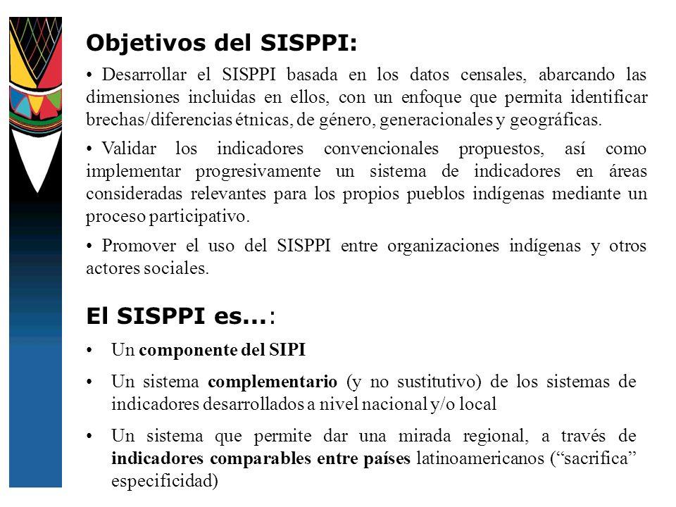 El SISPPI es...: Un componente del SIPI Un sistema complementario (y no sustitutivo) de los sistemas de indicadores desarrollados a nivel nacional y/o