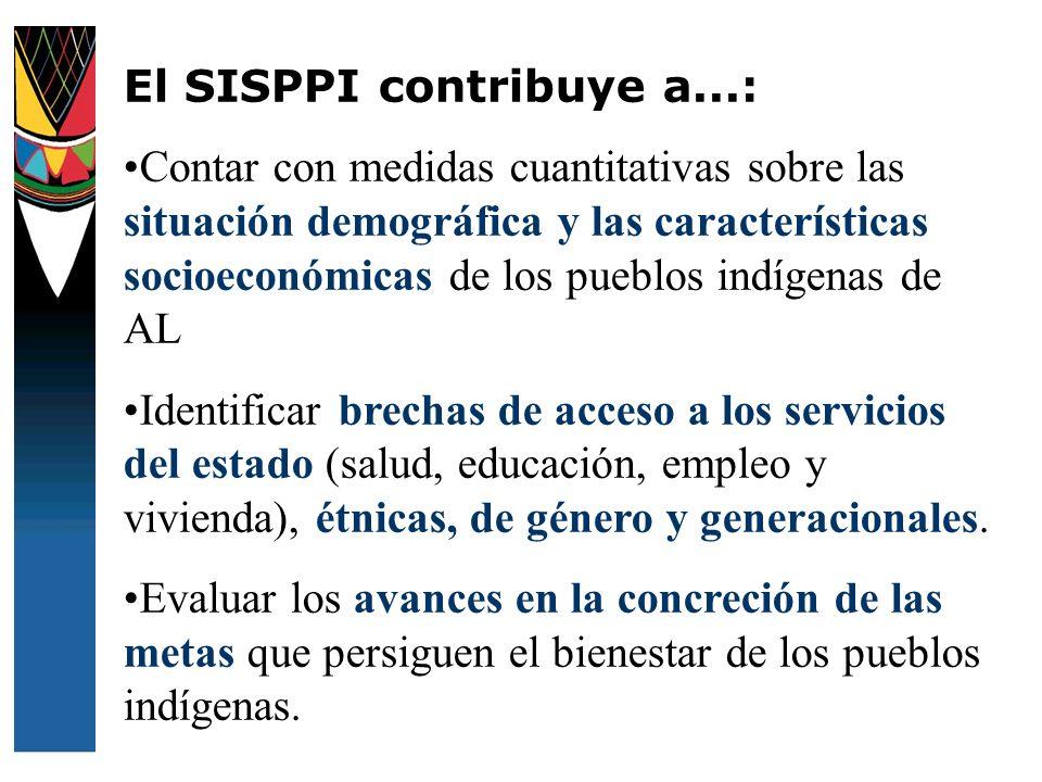 El SISPPI contribuye a...: Contar con medidas cuantitativas sobre las situación demográfica y las características socioeconómicas de los pueblos indíg