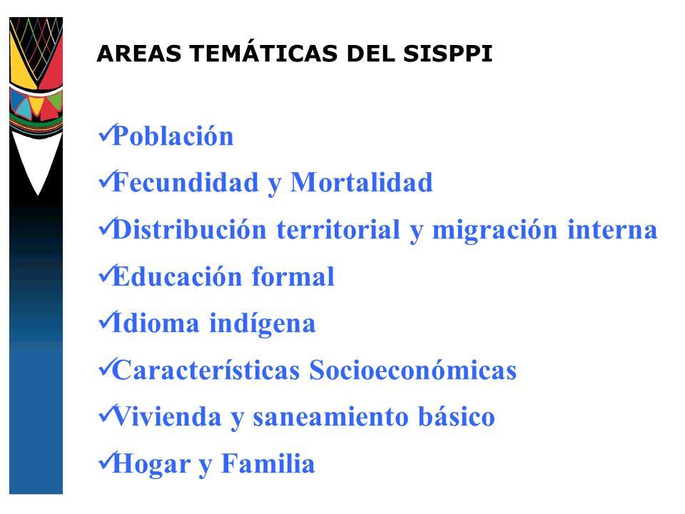 AREAS TEMÁTICAS DEL SISPPI Población Fecundidad y Mortalidad Distribución territorial y migración interna Educación formal Idioma indígena Característ