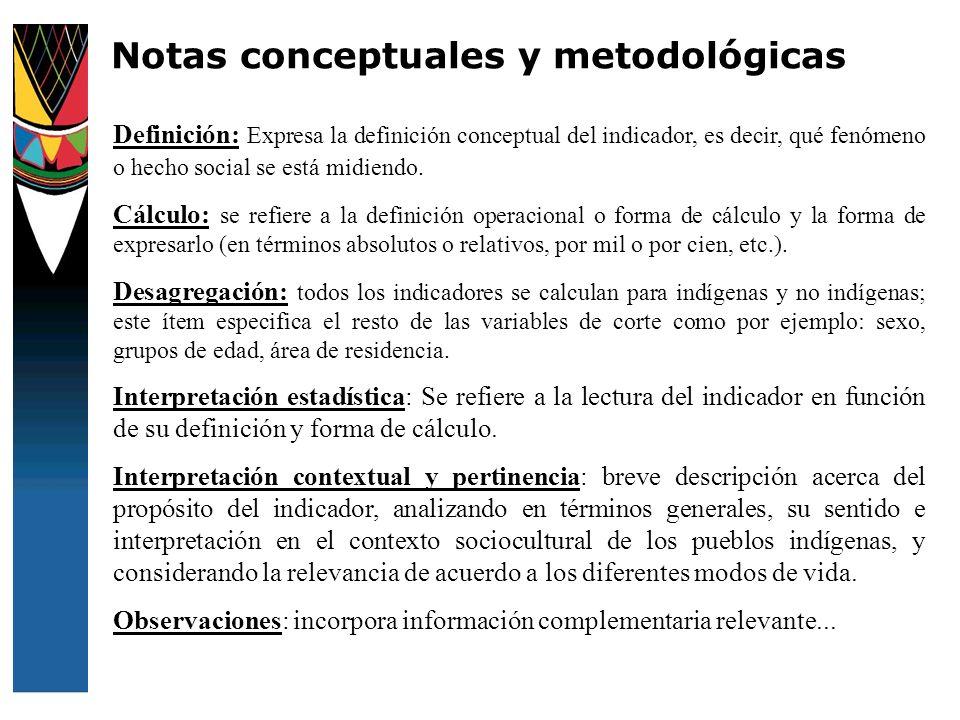 Definición: Expresa la definición conceptual del indicador, es decir, qué fenómeno o hecho social se está midiendo. Cálculo: se refiere a la definició