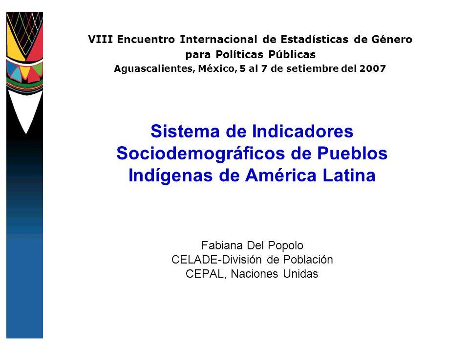 VIII Encuentro Internacional de Estadísticas de Género para Políticas Públicas Aguascalientes, México, 5 al 7 de setiembre del 2007 Sistema de Indicad