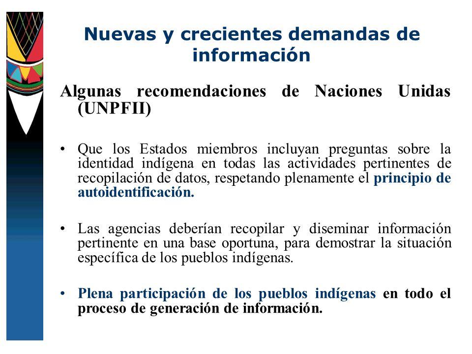 Algunas recomendaciones de Naciones Unidas (UNPFII) Que los Estados miembros incluyan preguntas sobre la identidad indígena en todas las actividades p