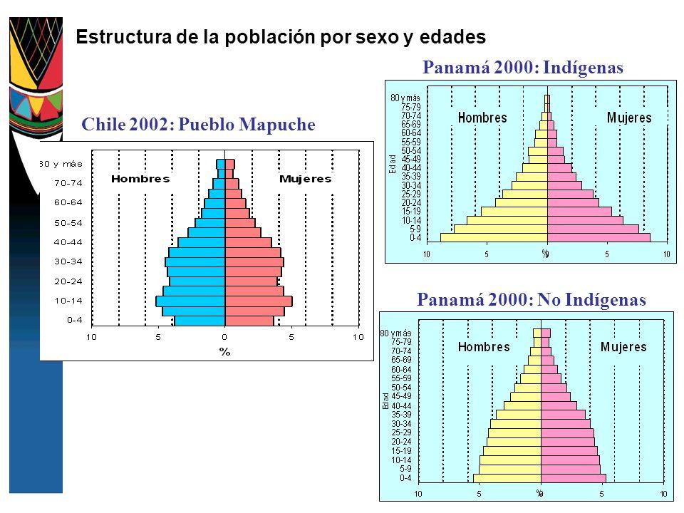 Estructura de la población por sexo y edades Panamá 2000: Indígenas Panamá 2000: No Indígenas Chile 2002: Pueblo Mapuche