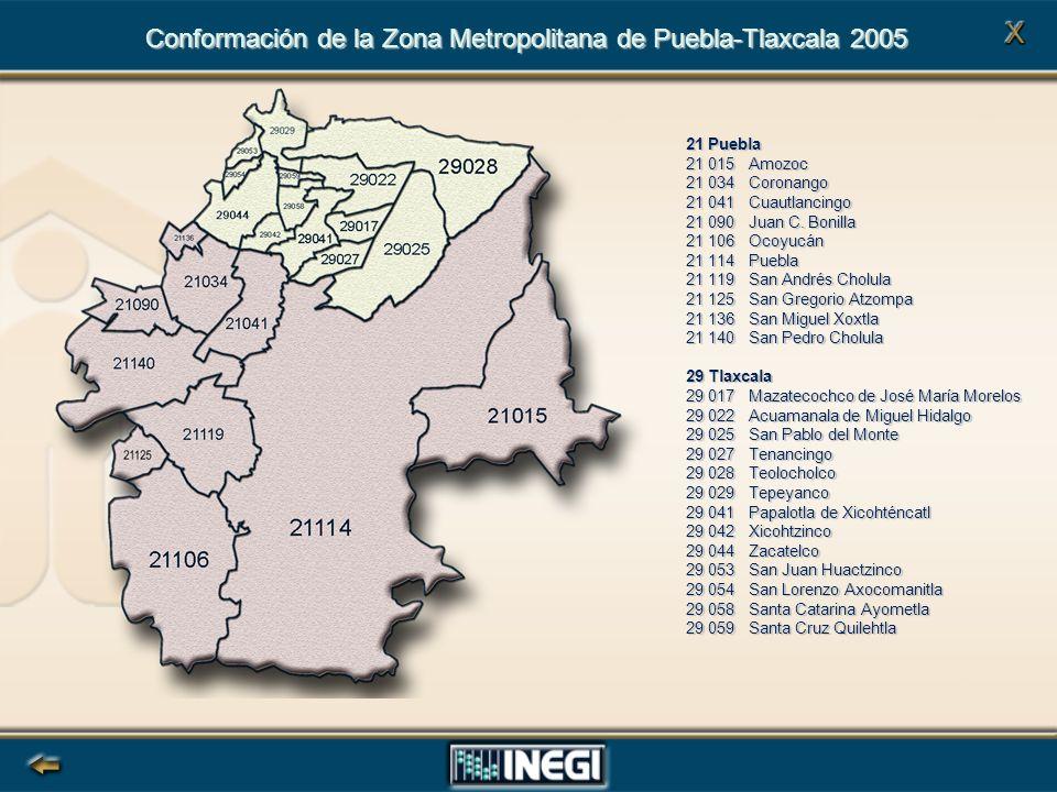 Conformación de la Zona Metropolitana de Puebla-Tlaxcala 2005 21 Puebla 21 015 Amozoc 21 034 Coronango 21 041 Cuautlancingo 21 090 Juan C.