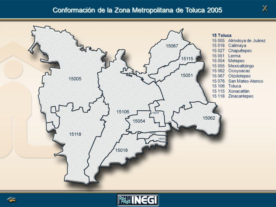Conformación de la Zona Metropolitana de Toluca 2005 15 Toluca 15 005 Almoloya de Juárez 15 018 Calimaya 15 027 Chapultepec 15 051 Lerma 15 054 Metepec 15 055 Mexicaltzingo 15 062 Ocoyoacac 15 067 Otzolotepec 15 076 San Mateo Atenco 15 106 Toluca 15 115 Xonacatlán 15 118 Zinacantepec
