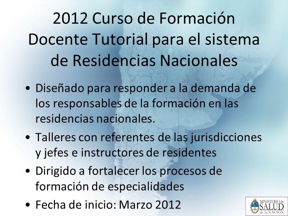 2012 Curso de Formación Docente Tutorial para el sistema de Residencias Nacionales Diseñado para responder a la demanda de los responsables de la formación en las residencias nacionales.