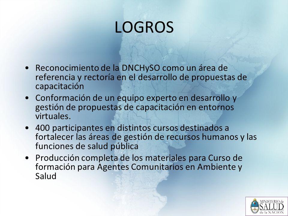 LOGROS Reconocimiento de la DNCHySO como un área de referencia y rectoría en el desarrollo de propuestas de capacitación Conformación de un equipo experto en desarrollo y gestión de propuestas de capacitación en entornos virtuales.