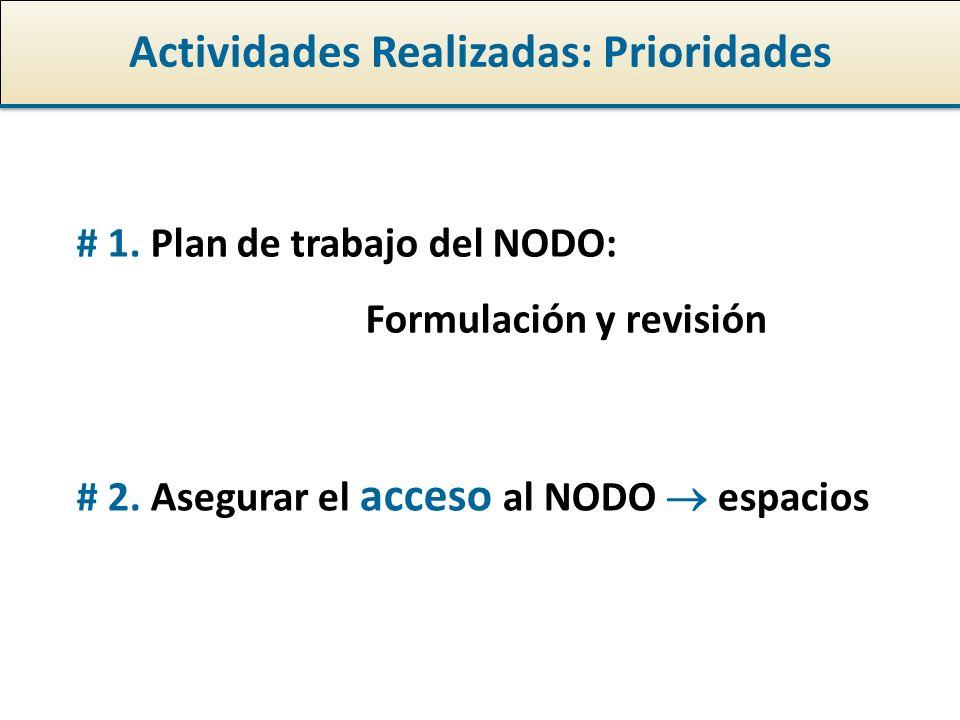 Actividades Realizadas: Prioridades # 1. Plan de trabajo del NODO: Formulación y revisión # 2.