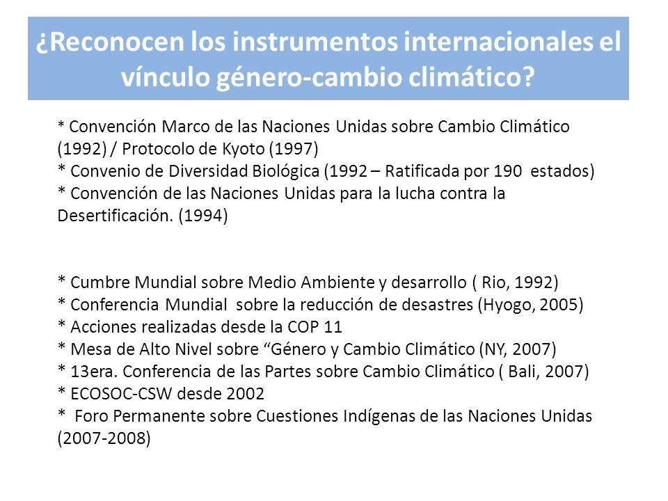 ¿Reconocen los instrumentos internacionales el vínculo género-cambio climático? * Convención Marco de las Naciones Unidas sobre Cambio Climático (1992