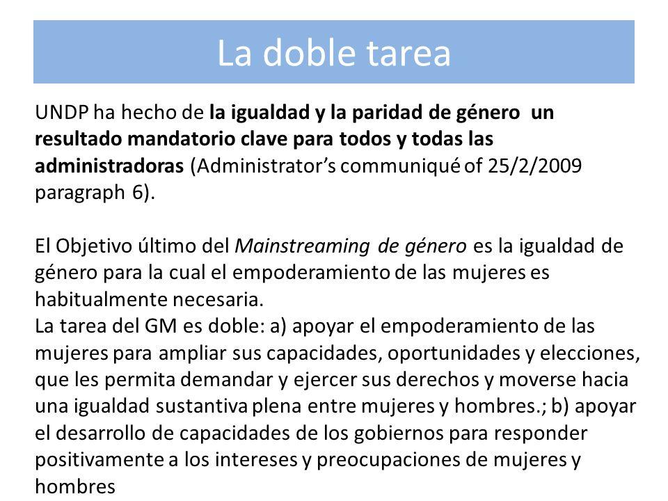La doble tarea UNDP ha hecho de la igualdad y la paridad de género un resultado mandatorio clave para todos y todas las administradoras (Administrator
