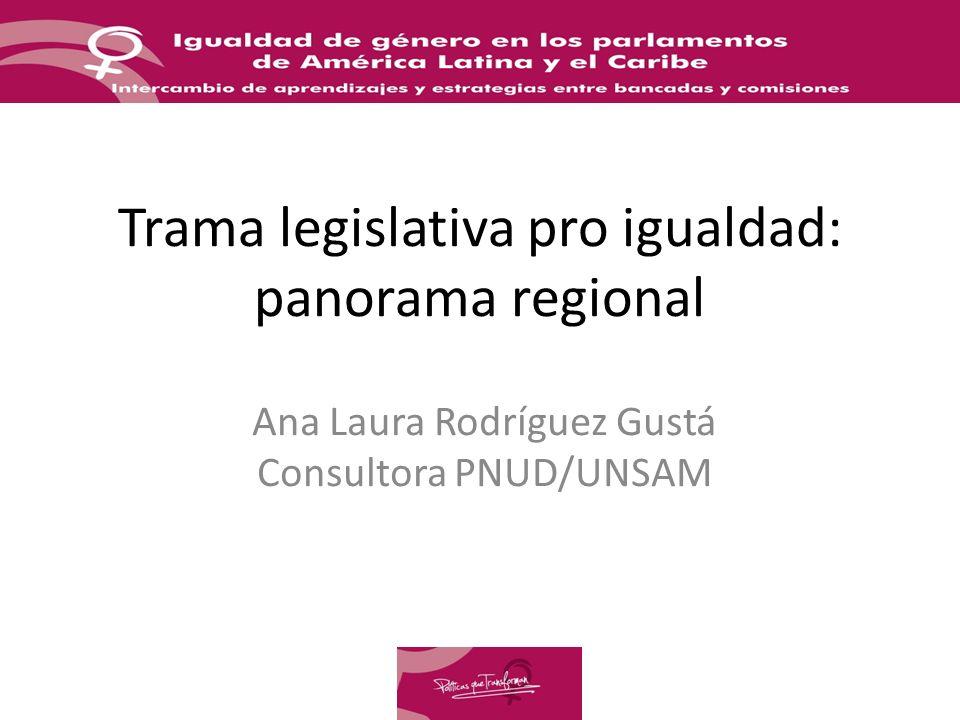 Trama legislativa pro igualdad: panorama regional Ana Laura Rodríguez Gustá Consultora PNUD/UNSAM