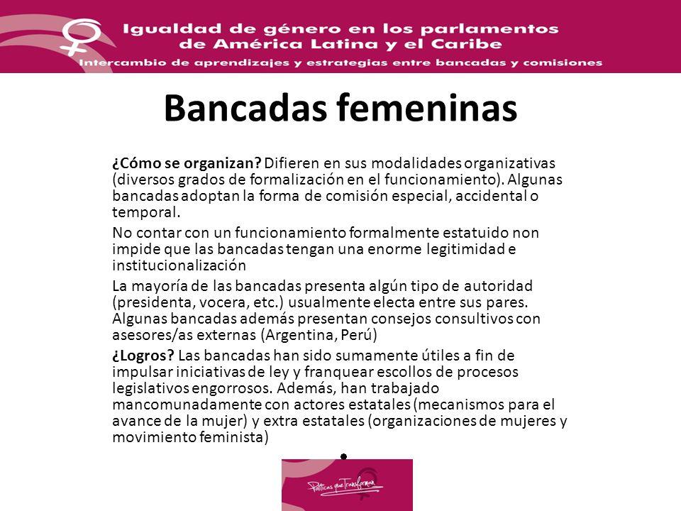 Bancadas femeninas ¿Cómo se organizan? Difieren en sus modalidades organizativas (diversos grados de formalización en el funcionamiento). Algunas banc