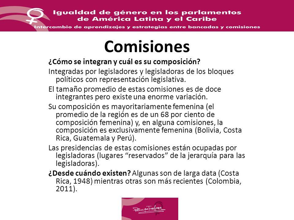 Comisiones ¿Cómo se integran y cuál es su composición? Integradas por legisladores y legisladoras de los bloques políticos con representación legislat