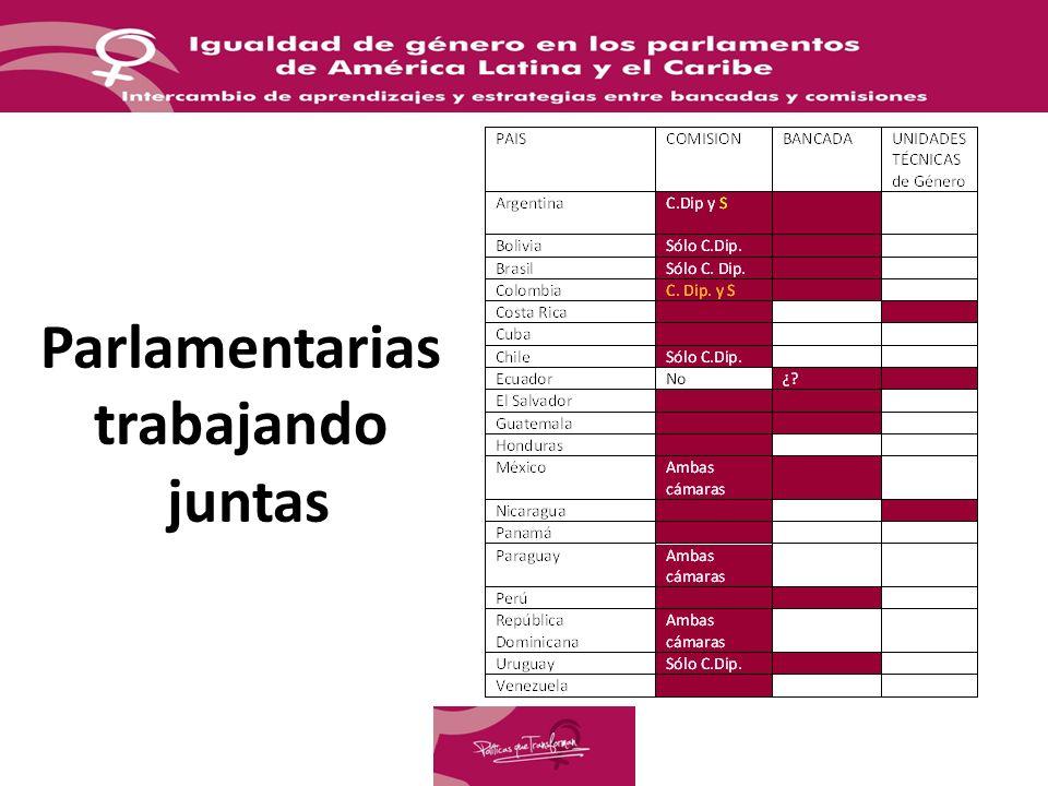 Tendencias regionales Bancadas femeninas han impulsado comisiones de equidad de género (Uruguay, Colombia, Paraguay) Bancadas femeninas se han transformado en comisiones de equidad de género (Argentina).