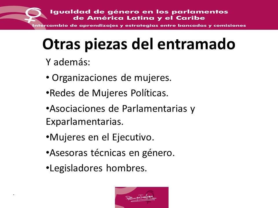 Otras piezas del entramado Y además: Organizaciones de mujeres. Redes de Mujeres Políticas. Asociaciones de Parlamentarias y Exparlamentarias. Mujeres