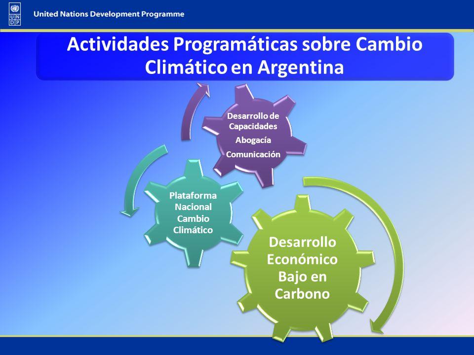 Desarrollo Económico Bajo en Carbono Plataforma Nacional Cambio Climático Desarrollo de Capacidades Abogacía Comunicación Actividades Programáticas so