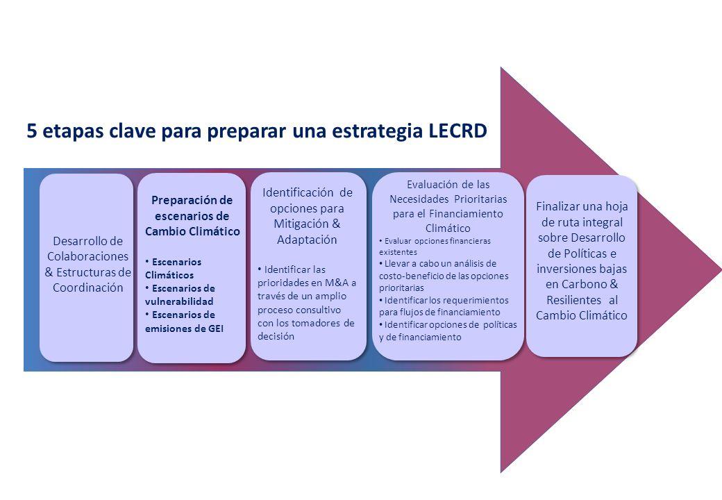 5 etapas clave para preparar una estrategia LECRD Desarrollo de Colaboraciones & Estructuras de Coordinación Preparación de escenarios de Cambio Climático Escenarios Climáticos Escenarios de vulnerabilidad Escenarios de emisiones de GEI Identificación de opciones para Mitigación & Adaptación Identificar las prioridades en M&A a través de un amplio proceso consultivo con los tomadores de decisión Evaluación de las Necesidades Prioritarias para el Financiamiento Climático Evaluar opciones financieras existentes Llevar a cabo un análisis de costo-beneficio de las opciones prioritarias Identificar los requerimientos para flujos de financiamiento Identificar opciones de políticas y de financiamiento Finalizar una hoja de ruta integral sobre Desarrollo de Políticas e inversiones bajas en Carbono & Resilientes al Cambio Climático