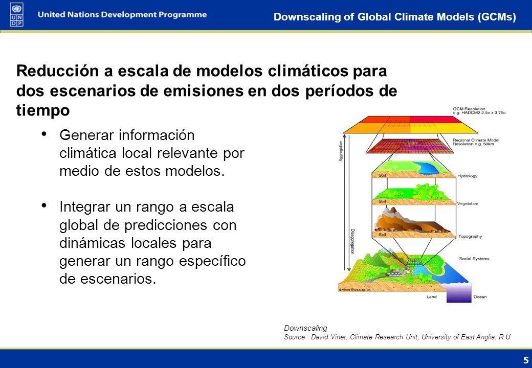 5 Downscaling of Global Climate Models (GCMs) Generar información climática local relevante por medio de estos modelos.
