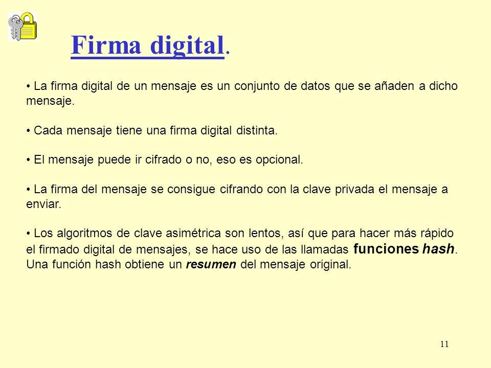 11 La firma digital de un mensaje es un conjunto de datos que se añaden a dicho mensaje. Cada mensaje tiene una firma digital distinta. El mensaje pue