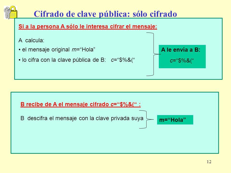 12 Cifrado de clave pública: sólo cifrado Si a la persona A sólo le interesa cifrar el mensaje: A calcula: el mensaje original m=Hola lo cifra con la
