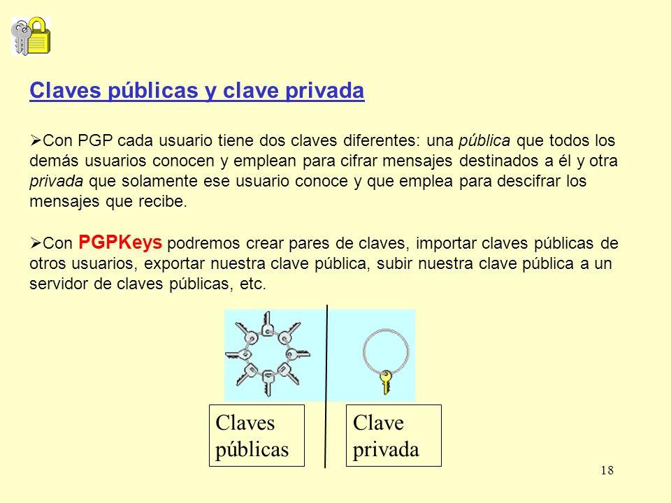 18 Claves públicas y clave privada Con PGP cada usuario tiene dos claves diferentes: una pública que todos los demás usuarios conocen y emplean para c