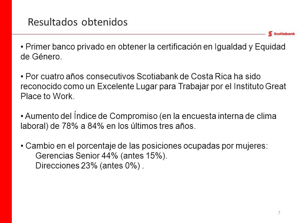 7 Resultados obtenidos Primer banco privado en obtener la certificación en Igualdad y Equidad de Género. Por cuatro años consecutivos Scotiabank de Co