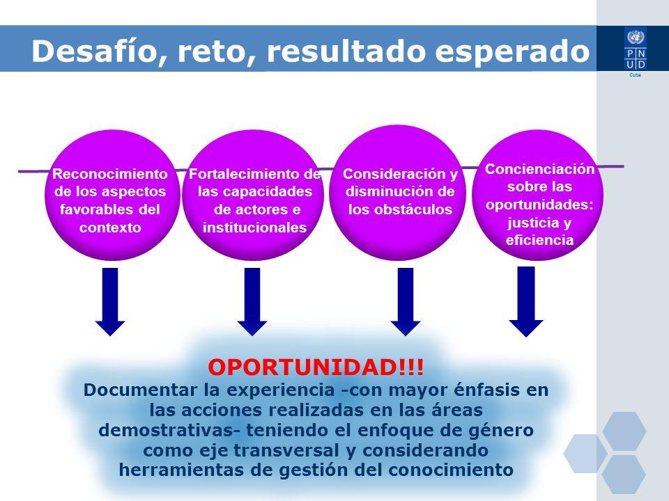 Cuba Desafío, reto, resultado esperado Reconocimiento de los aspectos favorables del contexto Fortalecimiento de las capacidades de actores e instituc