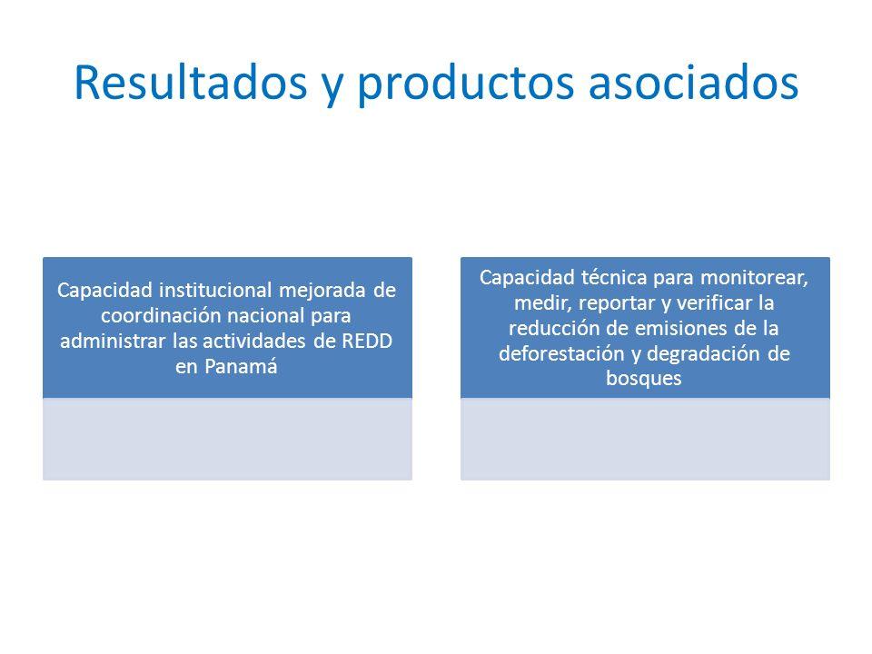 Resultados y productos asociados Capacidad institucional mejorada de coordinación nacional para administrar las actividades de REDD en Panamá Capacidad técnica para monitorear, medir, reportar y verificar la reducción de emisiones de la deforestación y degradación de bosques