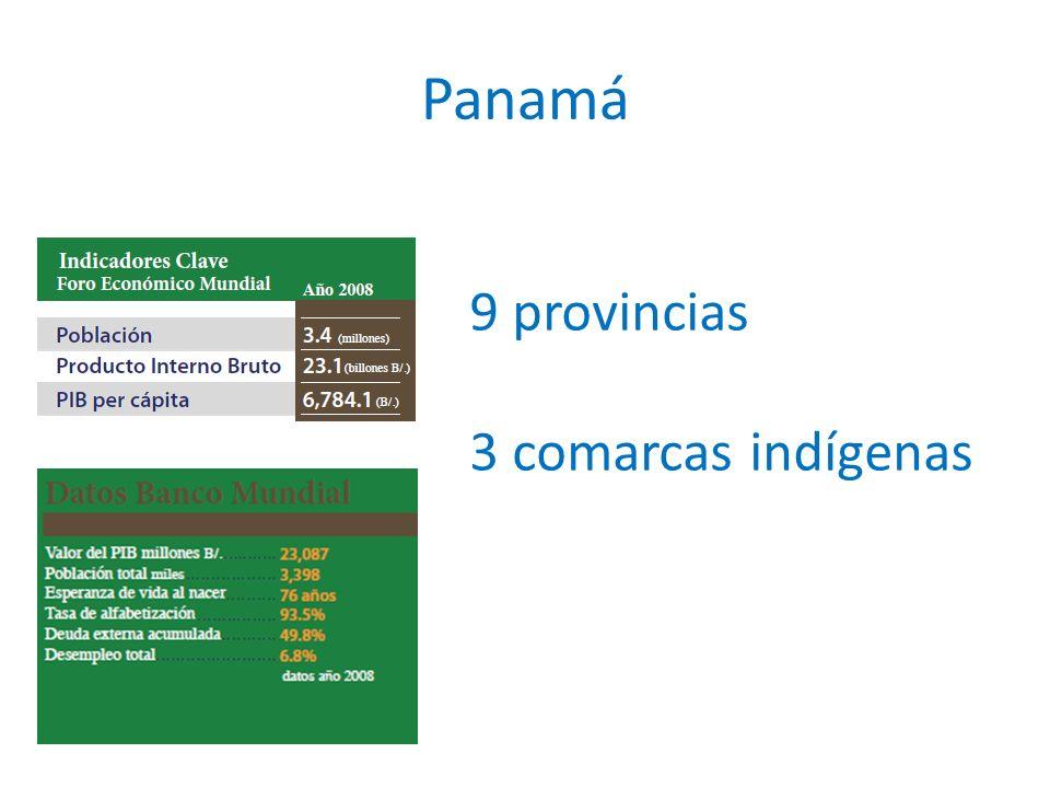 Panamá 9 provincias 3 comarcas indígenas