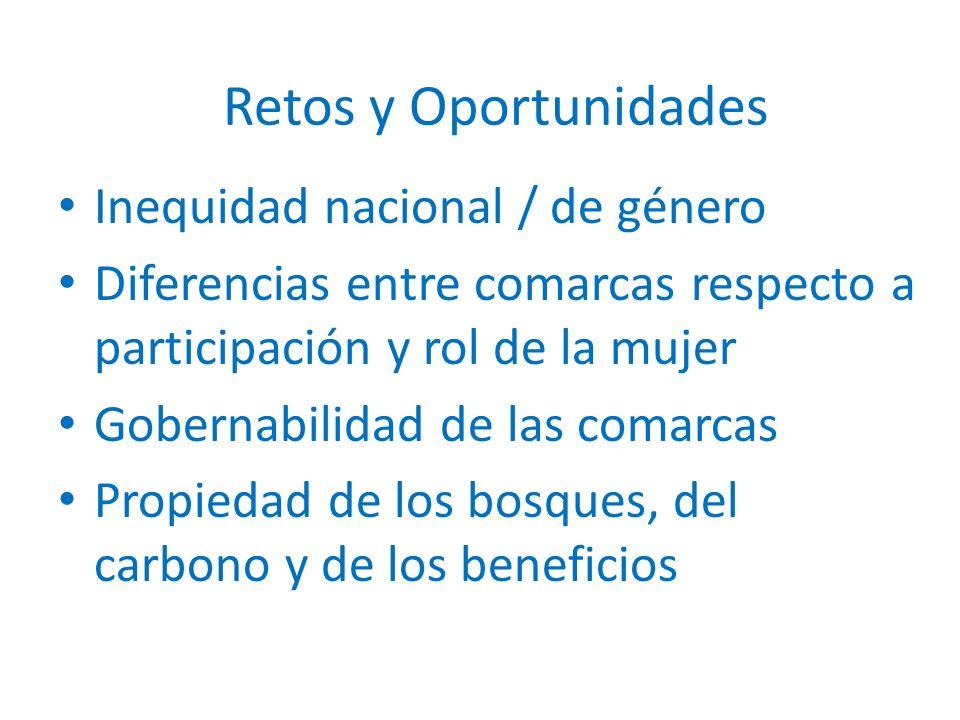 Inequidad nacional / de género Diferencias entre comarcas respecto a participación y rol de la mujer Gobernabilidad de las comarcas Propiedad de los bosques, del carbono y de los beneficios Retos y Oportunidades