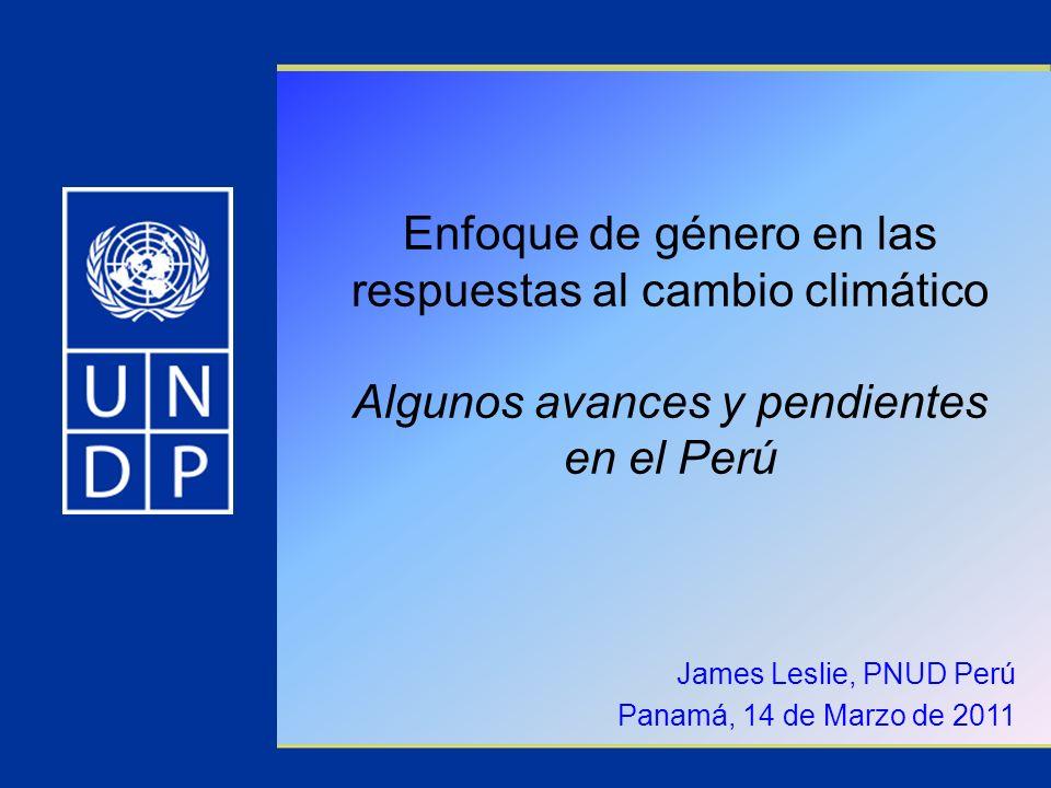 Enfoque de género en las respuestas al cambio climático Algunos avances y pendientes en el Perú James Leslie, PNUD Perú Panamá, 14 de Marzo de 2011
