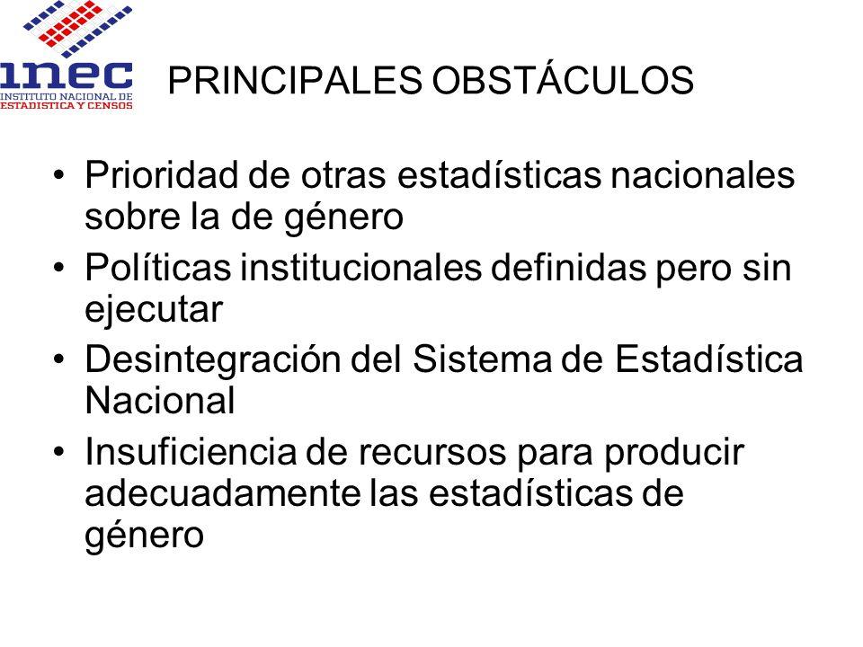 PRINCIPALES OBSTÁCULOS Prioridad de otras estadísticas nacionales sobre la de género Políticas institucionales definidas pero sin ejecutar Desintegrac
