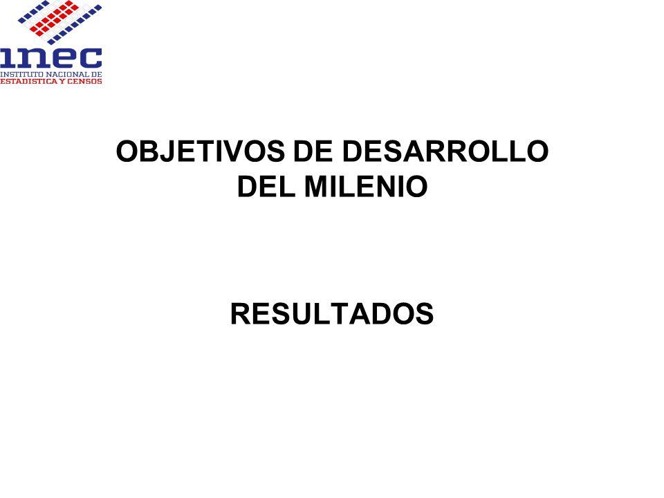 OBJETIVOS DE DESARROLLO DEL MILENIO RESULTADOS