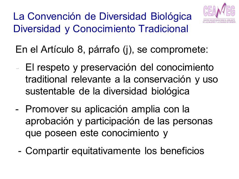 La Convención de Diversidad Biológica Diversidad y Conocimiento Tradicional En el Artículo 8, párrafo (j), se compromete: - - El respeto y preservació