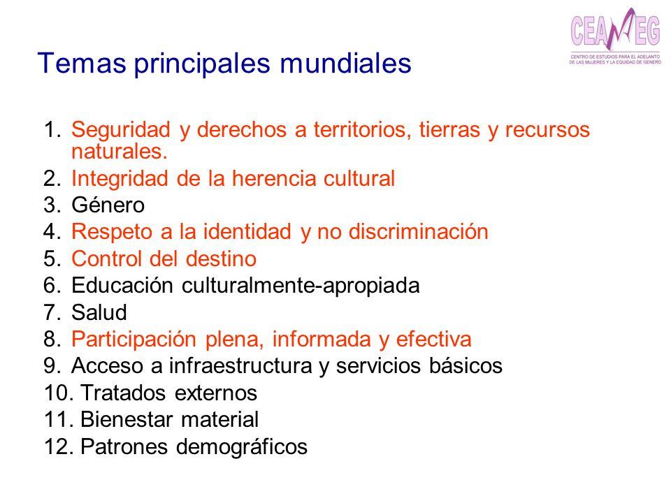 Temas principales mundiales 1.Seguridad y derechos a territorios, tierras y recursos naturales. 2.Integridad de la herencia cultural 3.Género 4.Respet