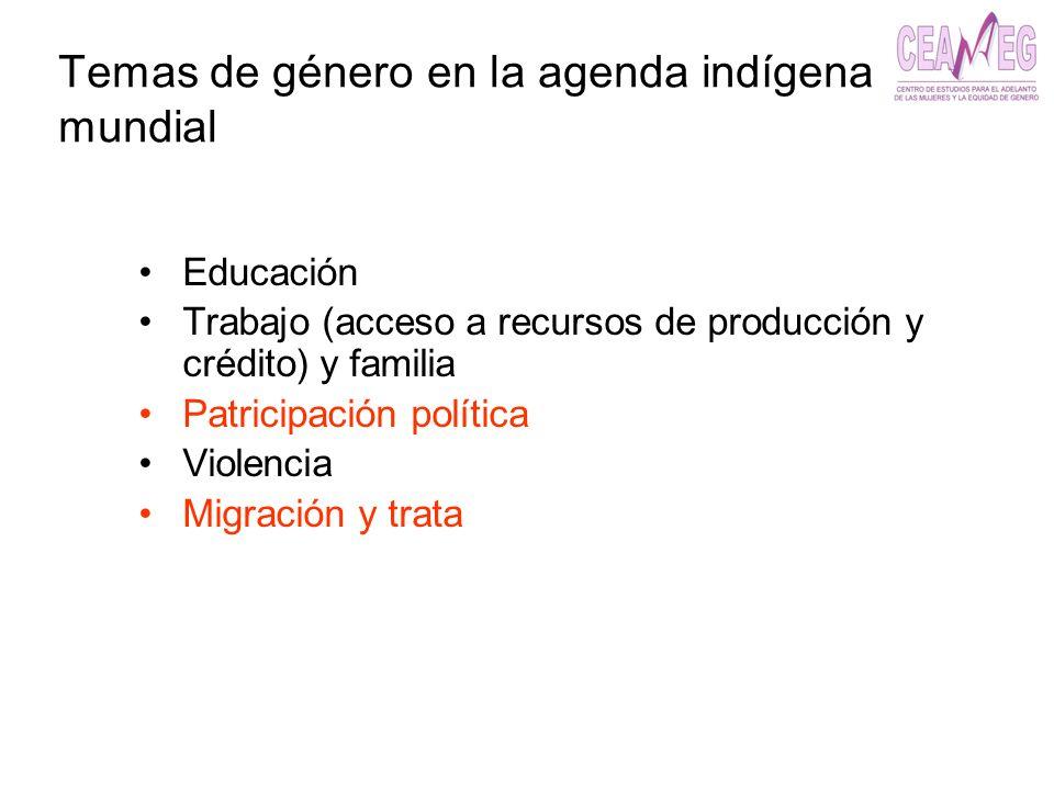 Temas de género en la agenda indígena mundial Educación Trabajo (acceso a recursos de producción y crédito) y familia Patricipación política Violencia